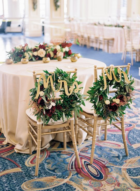 Mr and Mrs Wedding Bridal Sweetheart Table Chair Wreaths