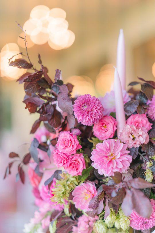 Pink Rose and Dahlia Wedding Centerpiece