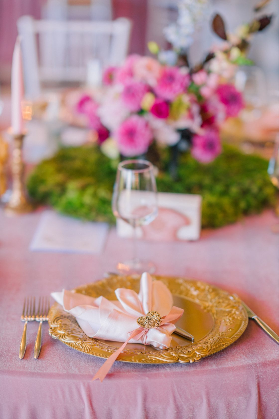 Pink and Gold Wedding Reception Decor