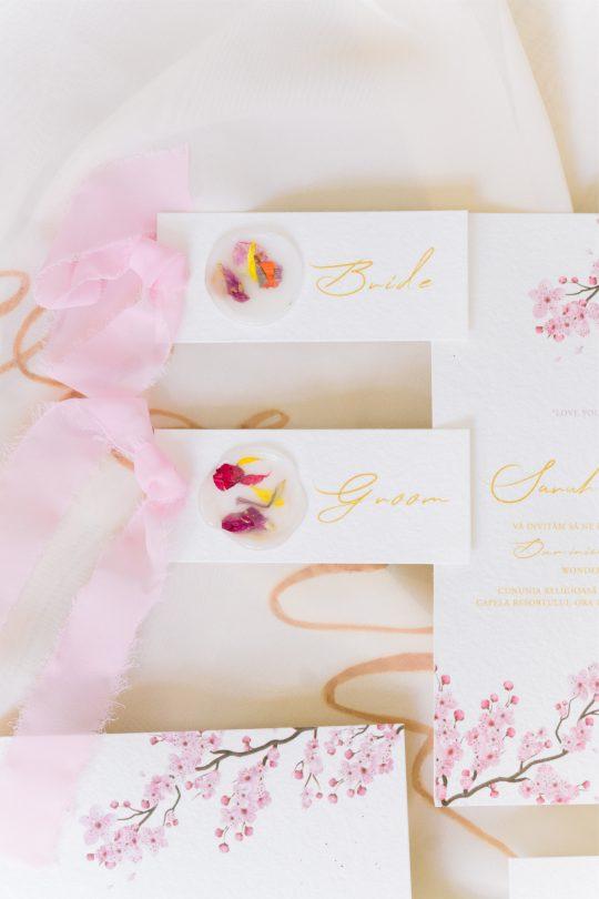Pressed Flower Wedding Stationery Detail