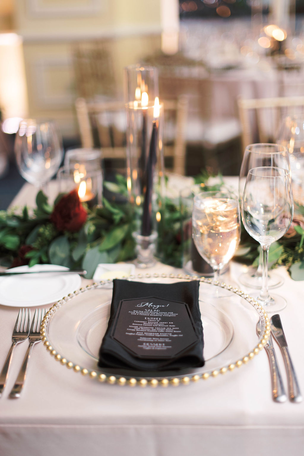 Rich Black Wedding Table Place Setting