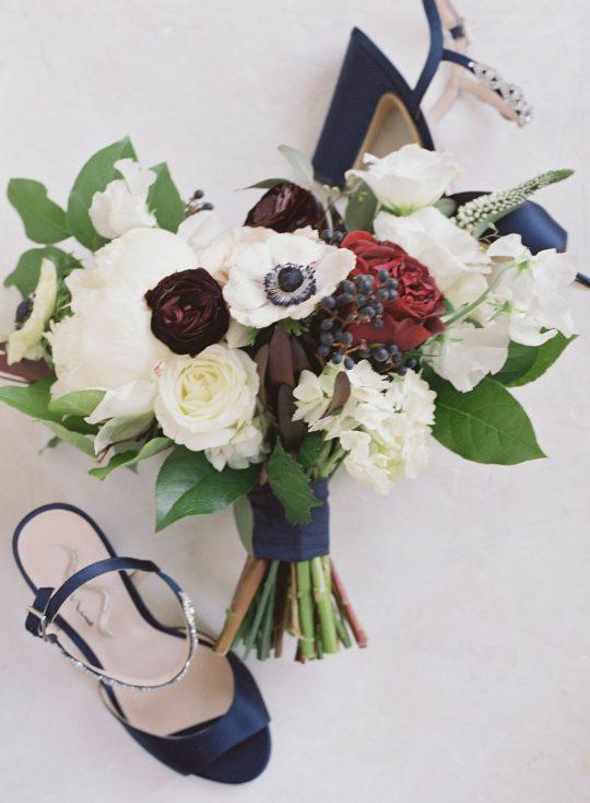 Rich Burgundy and White Wedding Bouquet
