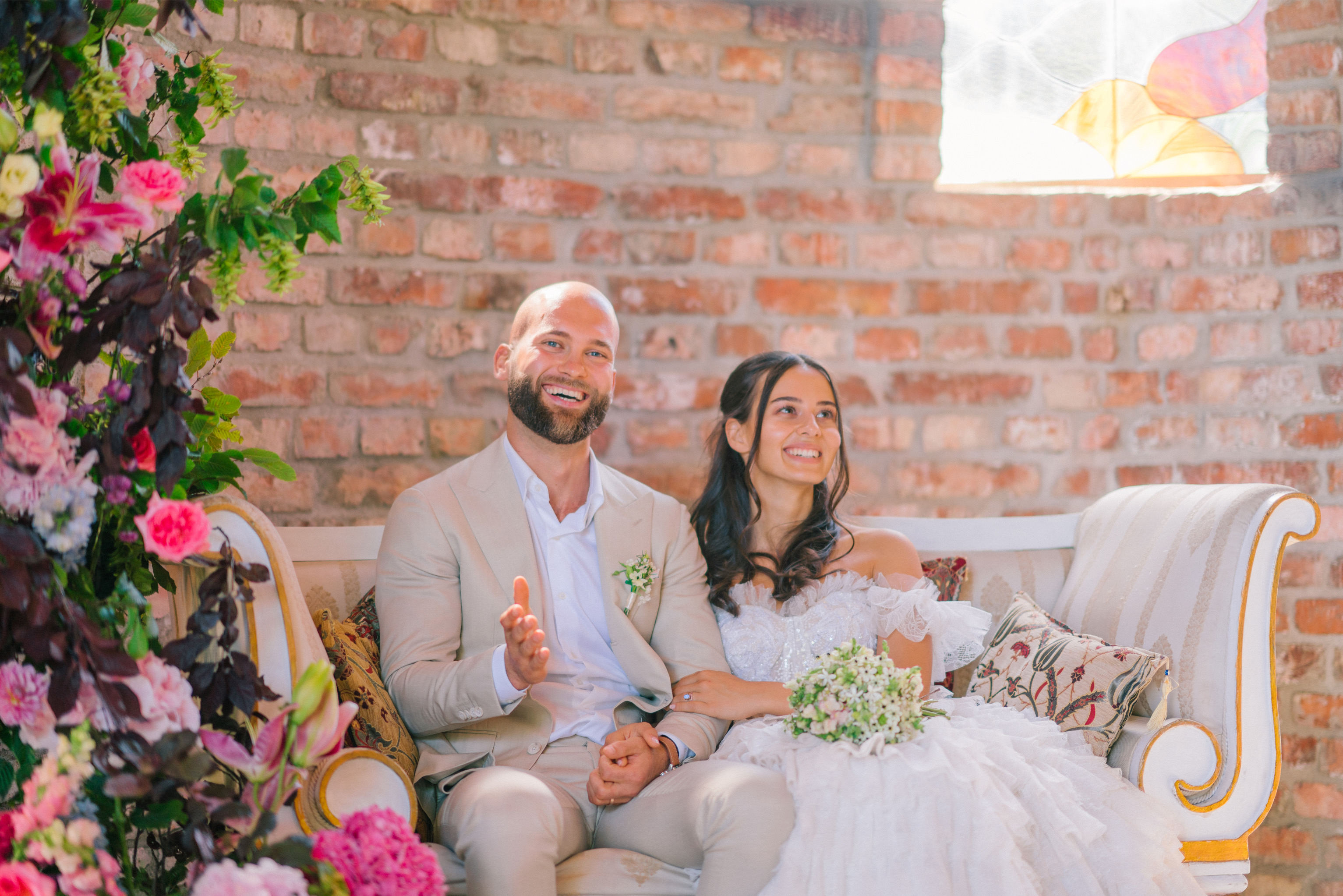 Romantic Bride and Groom Wedding Ceremony Seating