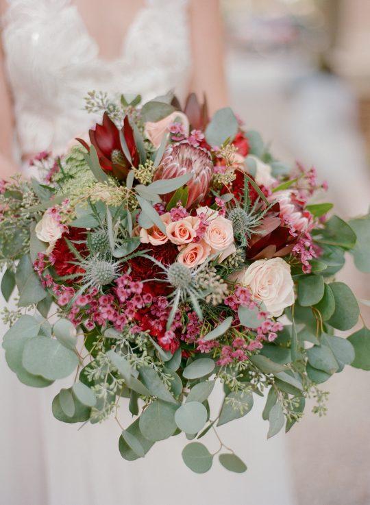 Sage Burgundy and Peach Wedding Bouquet