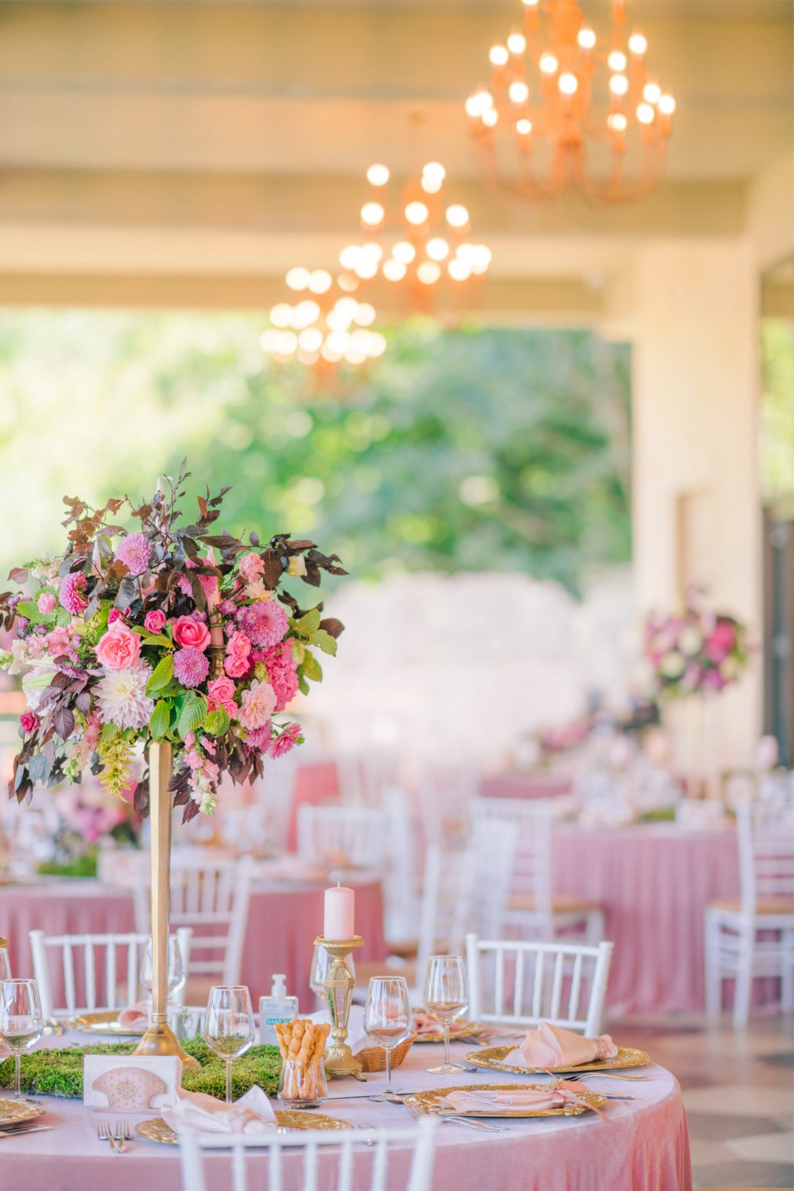 Shades of Pink Wedding Reception Decor