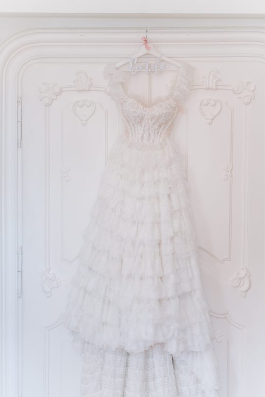 Spanish Inspired Layered Romantic Wedding Gown