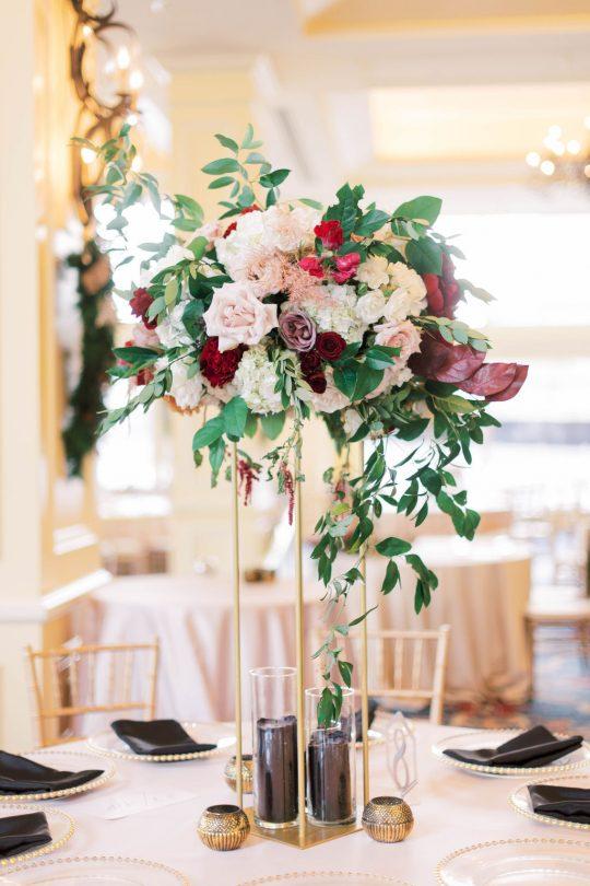 Tall Elegant Burgundy and Blush Wedding Centerpiece