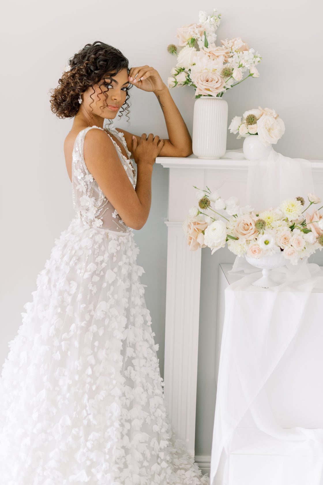 Textured Floral Wedding Gown