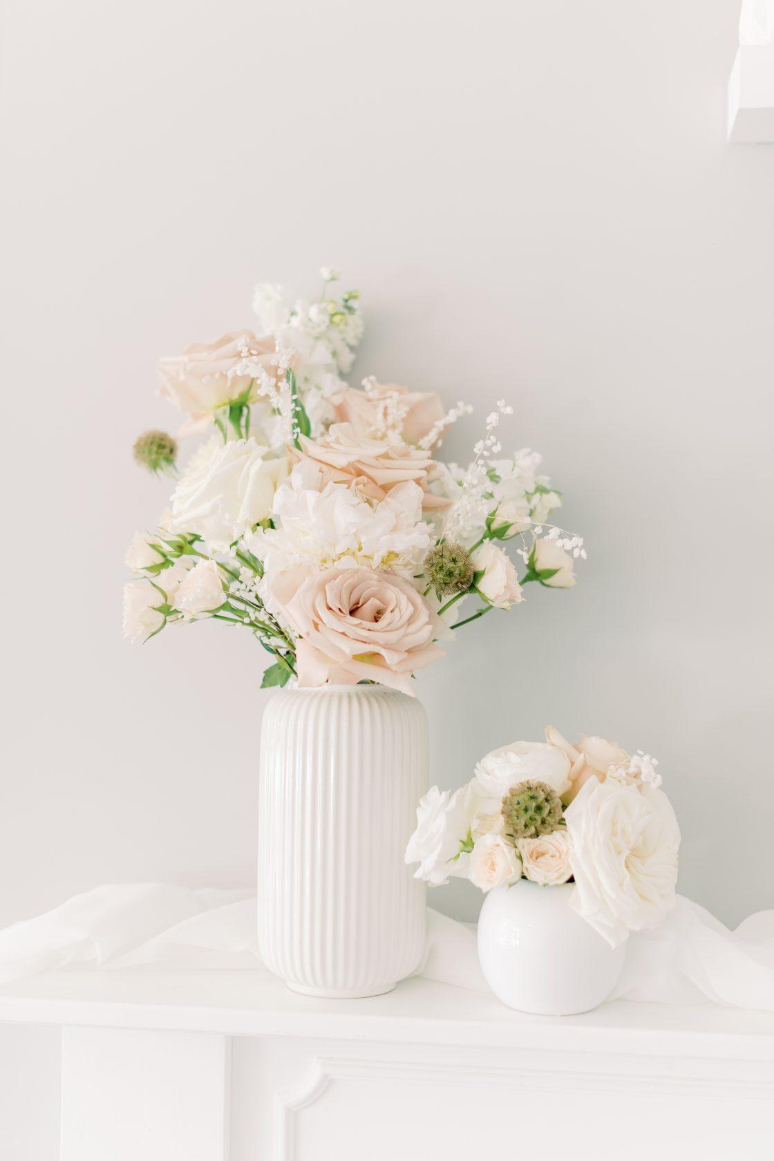 White Blush Rose Centerpiece