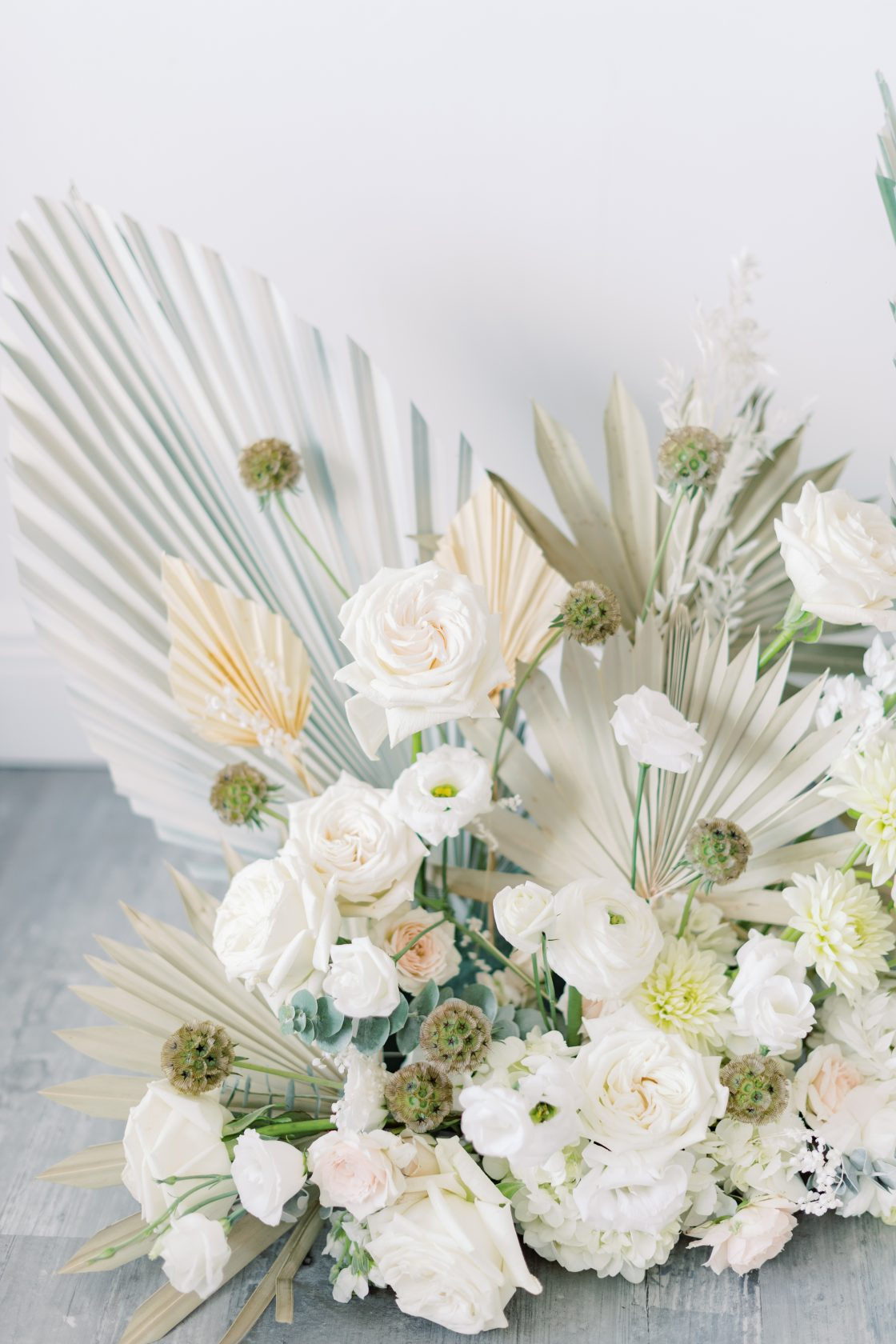 White Rose Ranunculus Palm Wedding Flowers
