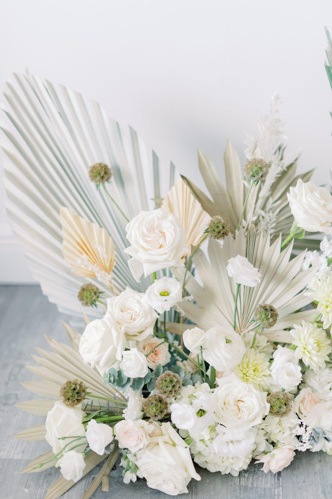 White Rose Ranunculus Palm Wedding Flowers